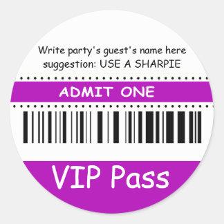 Fun Kids VIP Pass Admit One Birthday Party purple Classic Round Sticker