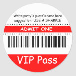 Fun Kids VIP Pass Admit One Birthday Party (red) Sticker