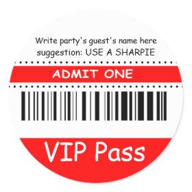 Fun Kids VIP Pass Admit One Birthday Party (red) Classic Round Sticker