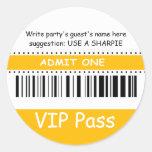 Fun Kids VIP Pass Admit One Birthday Party yellow Stickers