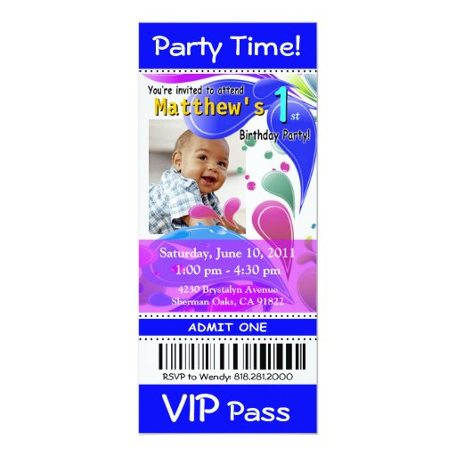 Fun Kids VIP Pass Event Ticket Photo Party (blue) Card