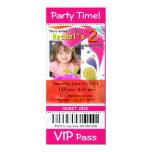 Fun Kids VIP Pass Event Ticket Photo Party fuschia 4x9.25 Paper Invitation Card