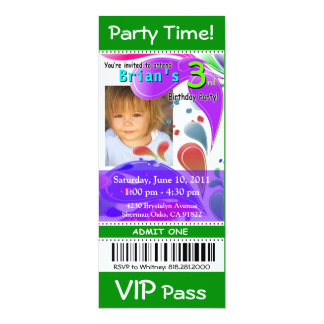Fun Kids VIP Pass Event Ticket Photo Party (green) Card