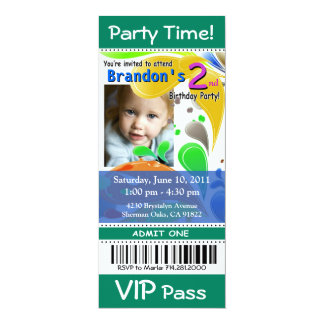 Fun Kids VIP Pass Event Ticket Photo Party (jade) Card