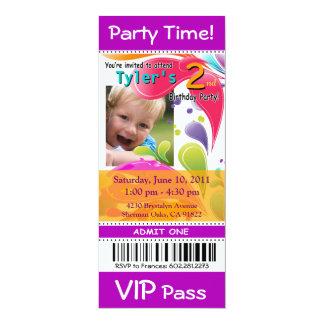 Fun Kids VIP Pass Event Ticket Photo Party purple Card