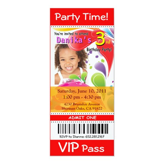 Fun Kids VIP Ticket Photo Party (red) Card