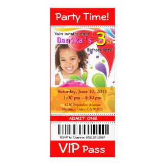 Fun Kids VIP Ticket Photo Party red Custom Invitations
