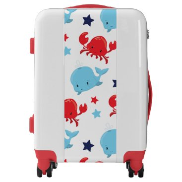 Beach Themed Fun kids whale and crab pattern luggage