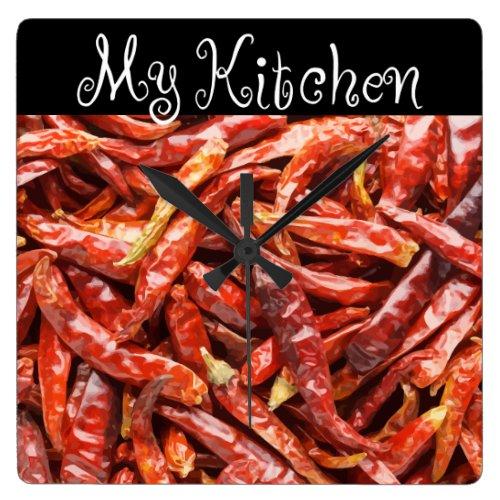 Fun Kitchen Chilli Pepper Design Square Wall Clock