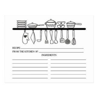 Fun Kitchen Gadgets Bridal Shower Recipe Cards