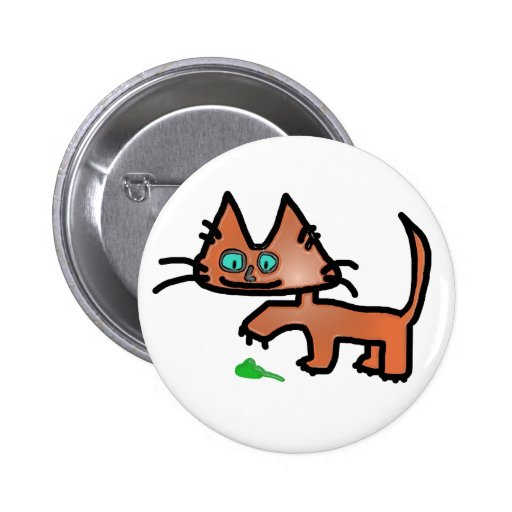 Fun Kitty Playing With Mouse Toy Button