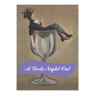 Fun Lady in Glass Girls Night Out Invitations