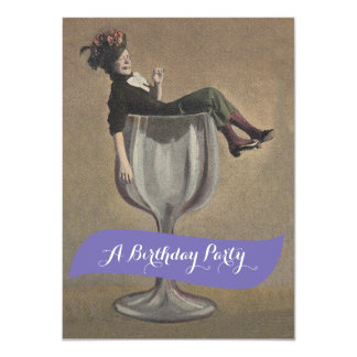 Fun Lady in Glass Party Birthday Invitations