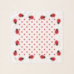 """Fun Ladybugs Dot Square Chiffon Scarf<br><div class=""""desc"""">Fun Ladybugs Dot Square Chiffon Scarf.  In basic red and black on white background,  this scarf is sure to be you new summer accent.  Design by Claudine Boerner.</div>"""