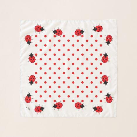 Fun Ladybugs Dot Square Chiffon Scarf