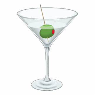 Fun Large Cocktail Party Martini Glass with Olive Statuette