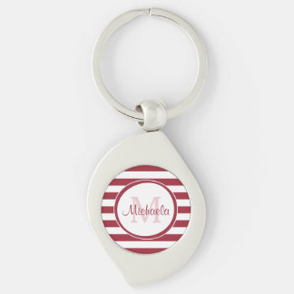 Fun Large Red and White Stripes With Monogram Silver-Colored Swirl Metal Keychain