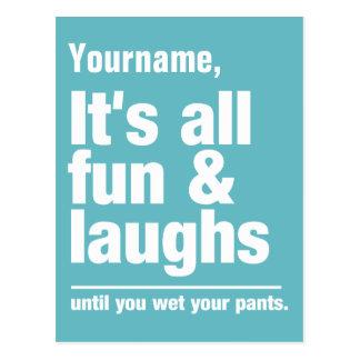 FUN & LAUGHS custom color & name postcard