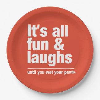 FUN & LAUGHS custom color paper plates