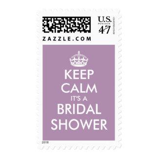 Fun lavender purple keep calm bridal shower stamps