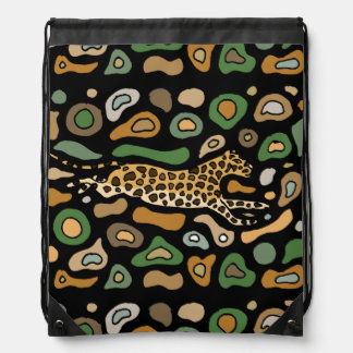 Fun Leaping Leopard Abstract Drawstring Bags