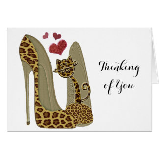 Fun Leopard Stiletto and Cat Greeting Card