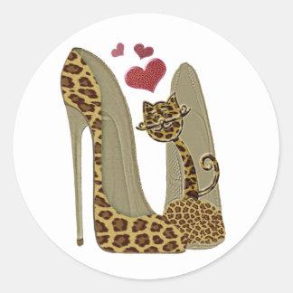 Fun Leopard Stiletto and Cat Classic Round Sticker