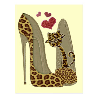 Fun Leopard Stiletto and Cat Post Cards