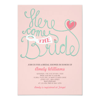 Fun Lettering Blush Pink Bridal Shower Invite