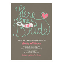 Fun Lettering Pink Brown Bridal Shower Invite
