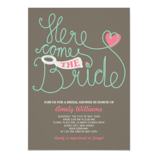 "Fun Lettering Pink Brown Bridal Shower Invite 5"" X 7"" Invitation Card"
