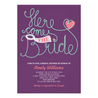 Fun Lettering Purple Pink Bridal Shower Invite Personalized Invites