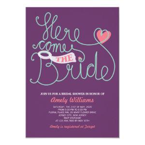 Fun Lettering Purple Pink Bridal Shower Invite 5