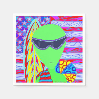 Fun LGM Alien Vacation Geek Humor 4th Of July Disposable Napkins