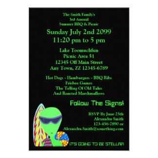 Fun LGM Alien Vacation Summer BBQ & Picnic Invite
