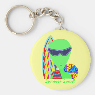 Fun LGM Space Alien Summer Soon? Key Ring Basic Round Button Keychain