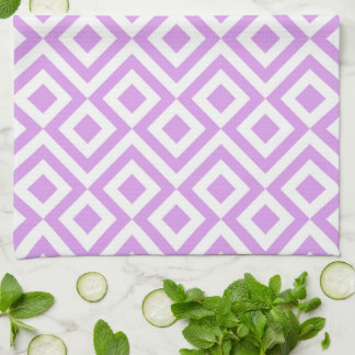 Fun Light Purple and White Meander Kitchen Towel