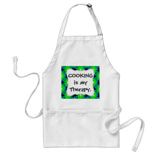 Fun Lime Green and Blue Flower Pattern Adult Apron