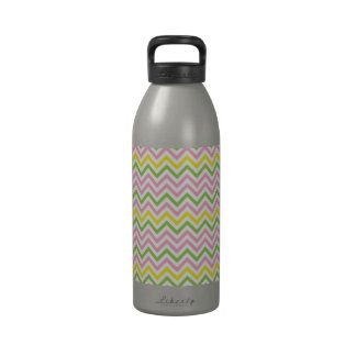 Fun Lime Green Pink Yellow and White Chevrons Reusable Water Bottles