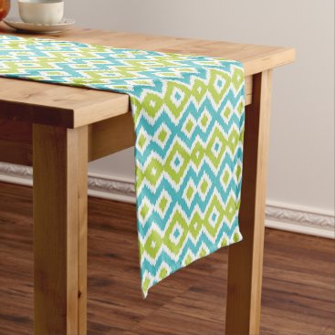 CozyLivin Fun Lime Green Turquoise Blue Ikat Mosaic Pattern Medium Table Runner