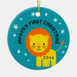 Fun Lion Baby's 1st First Christmas Gift Circle Ceramic Ornament
