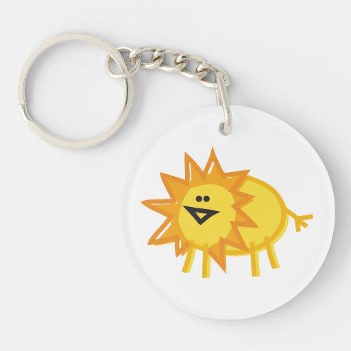 Fun Lion on White Keychains