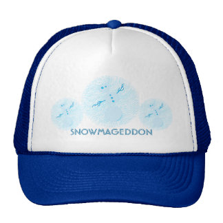 Fun Little Blue Snowman SNOWMAGEDDON Custom Cap Trucker Hat