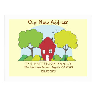 Fun Little House New Address Postcard