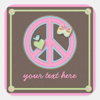Fun Little Peace Sign Square Sticker