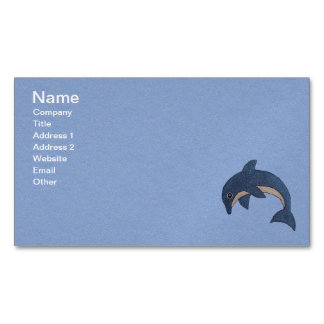 Fun Little Sparkle Blue White Dolphin on Blue Magnetic Business Card