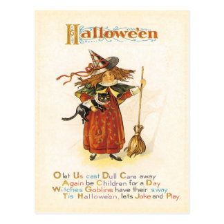 Fun Little Witch Vintage Postcard