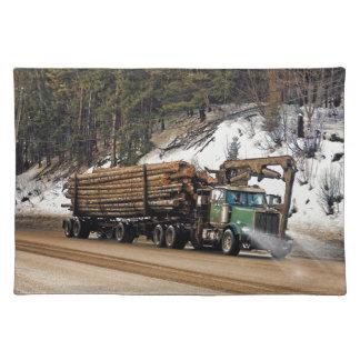 Fun Log In - Log Out Logging Trucker Art Design Cloth Placemat
