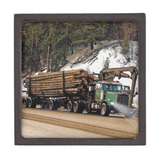 Fun Log In - Log Out Logging Trucker Art Design Jewelry Box