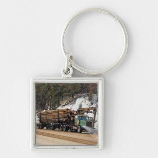Fun Log In - Log Out Logging Trucker Art Design Keychain